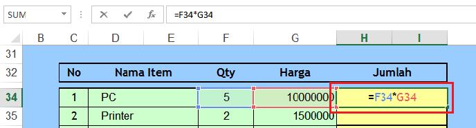 Cara menuliskan Formula / Rumus microsoft excel - Belajar ...